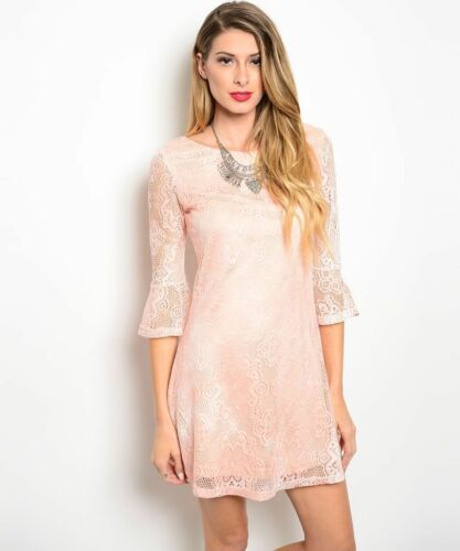 Love Riche Womens Pink Peach Flora Lace Shift Dress New with Tags