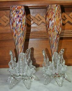 "Vintage Murano Art Glass Multicolor clear Foot Bud Vases 8-5/8"" Tall"
