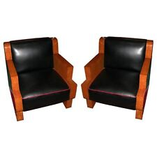 Pair of Burled Maple Art Deco Chair, France, 1900-1950 #5988
