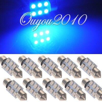 10x 31mm 6 LED 1210 SMD Car Festoon Interior Dome Map Light Lamp Bulb 12V Blue