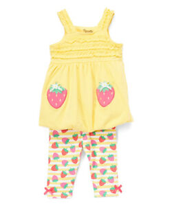 NWT-Nannette-Strawberry-Baby-Girls-Yellow-Tunic-Capri-Leggings-Outfit-Set