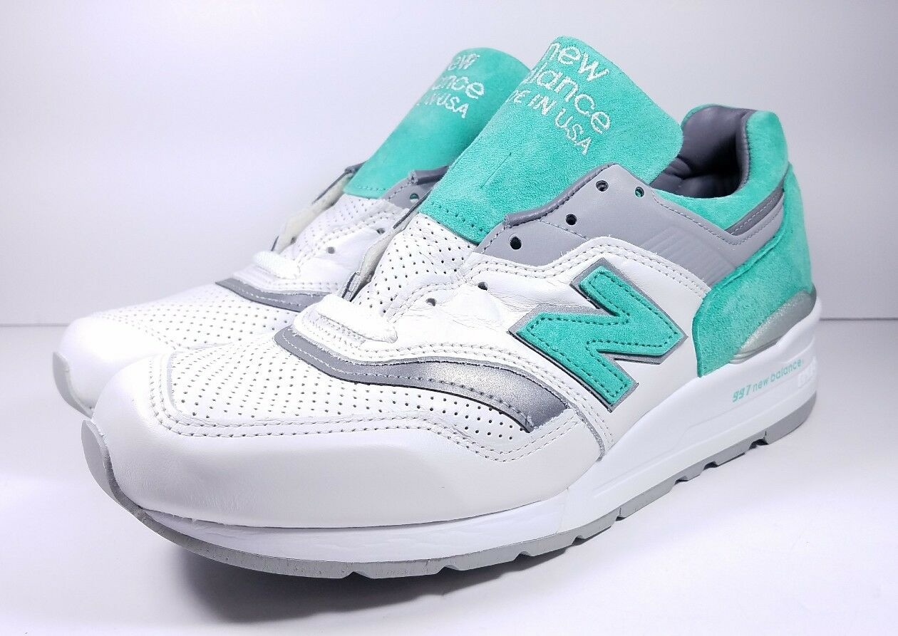 New Balance 997 Size 9 shoes White Mint Green Leather Made In USA M997CMA Mens