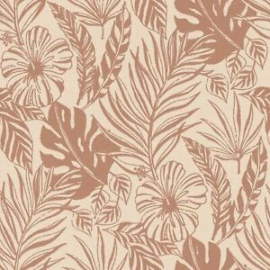 Portefeuille-Tropical-Feuille-Papier-Peint-Rose-Dore-Rose-Rasch-215519