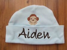 "PERSONALIZED ""AIDEN"" Baby Beanie Hospital Hat with Monkey Brand new! 0-3 months"