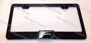 Lexus-3D-F-SPORT-Emblem-Black-Stainless-Steel-License-Plate-Frame-W-Caps