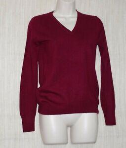 Uniqlo-Cashmere-V-Neck-Burgundy-Women-039-s-Sweater-Pullover-Size-S