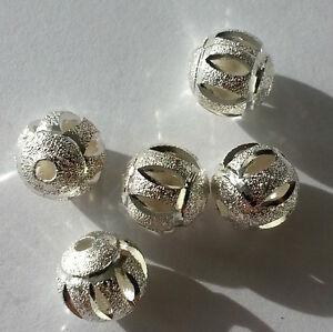 Bijoux-10-Perles-de-Metal-10mm-Couleur-Argent-Zwischenperle-Sable-Haute-Qualite