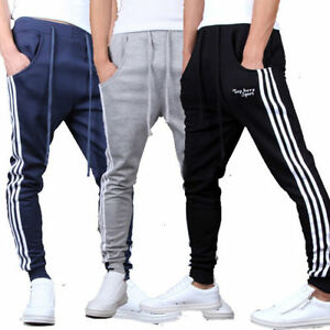 Mens-Tapered-Gym-Pants-Skinny-Track-Pants-Joggers-Trackies-Tracksuit-Bottoms