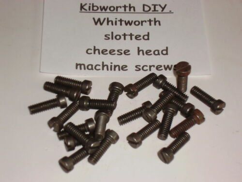 "25 x  1//8/"" x 5//16/"" CHEESE HEAD WHITWORTH SCREWS slotted head machine screw NOS"