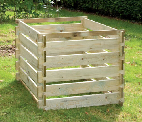 Wooden Compost Bin Garden Waste Composter Composting Bin Medium 605L by Lacewing