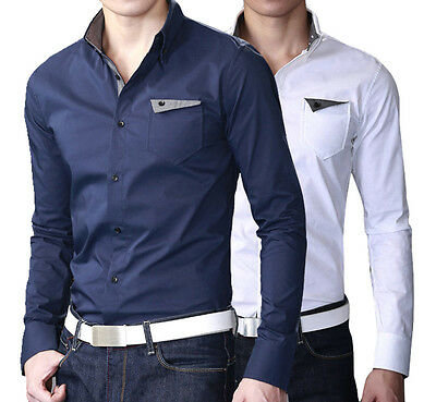 ST207 New Mens Luxury Casual Slim Fit Stylish Dress Shirts 2 Colors 4 Size