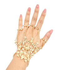 Glam Gold Flower  Stretch Bracelet Hand Chain Stretch Rings By Rocks Boutique