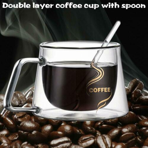 Double Wall Glass Coffee Tea Cup Heat Resistant Insulated Coffee Mug 200ml 150°