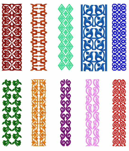 Buy Borders 10 Machine Embroidery Designs Set For Large Hoop Online
