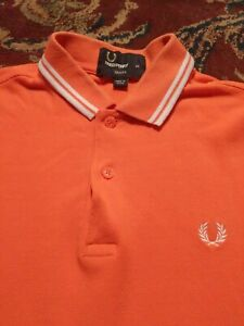 FRED-PERRY-Men-039-s-Polo-Style-100-Cotton-XS-Xtra-Small-ORANGE-SS-Shirt-SLIM-FIT
