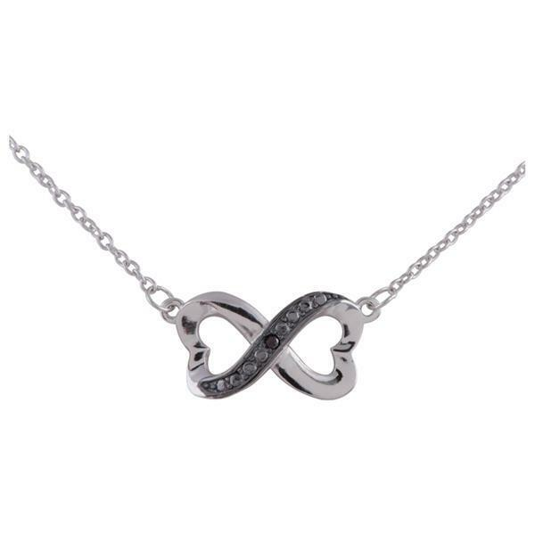 Infinity Hearts Necklace,925 Sterling Silver,Black Diamond Accent.
