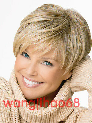New sexy ladies short Blonde mix Synthetic Natural Hair wigs + Wig cap
