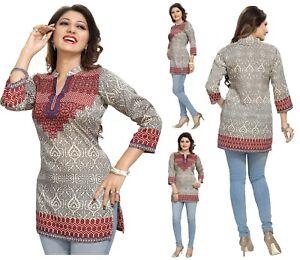 Women-Indian-Short-Kurti-3-4-Sleeeves-Tunic-Top-Kurta-Shirt-Dress-MI-522-MAROON