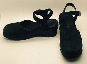 021c1b9a5841 Image is loading MODELLISTA-Black-Suede-Leather-Comfort-Walking-Clogs-Sling-