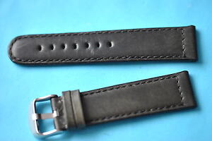 Bracelet-en-cuir-de-veau-solide-noir-22mm-avec-couture-transversale-Allemand