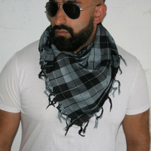 Unisex desert scarf black and grey square scarf neck scarf in check pattern