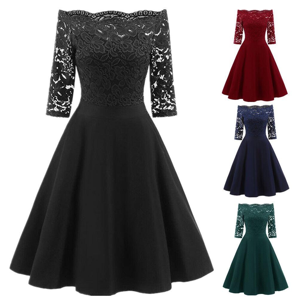 Women 3/4 Sleeve Bardot Vintage Lace Rockabilly Party Prom Evening Dress Wedding