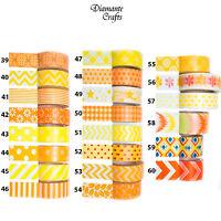 Washi Tape Decorative Masking Paper Adhesive Gift Craft Trim - Yellow Orange