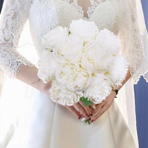 Lot de 2 fleurs en soie Bouquet 10 Heads Pivoine Faux Fleurs Pour Mariage Décoration Maison