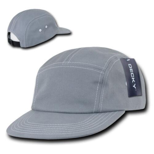 Grey 5 PANEL STRAPBACK HAT Contra-Stitch Plain Blank Cotton Camper retro camp
