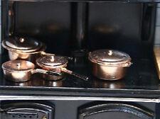 Pan Set Copper, Dolls House Miniatures Kitchen Accessory, 1:12th Scale pots pan