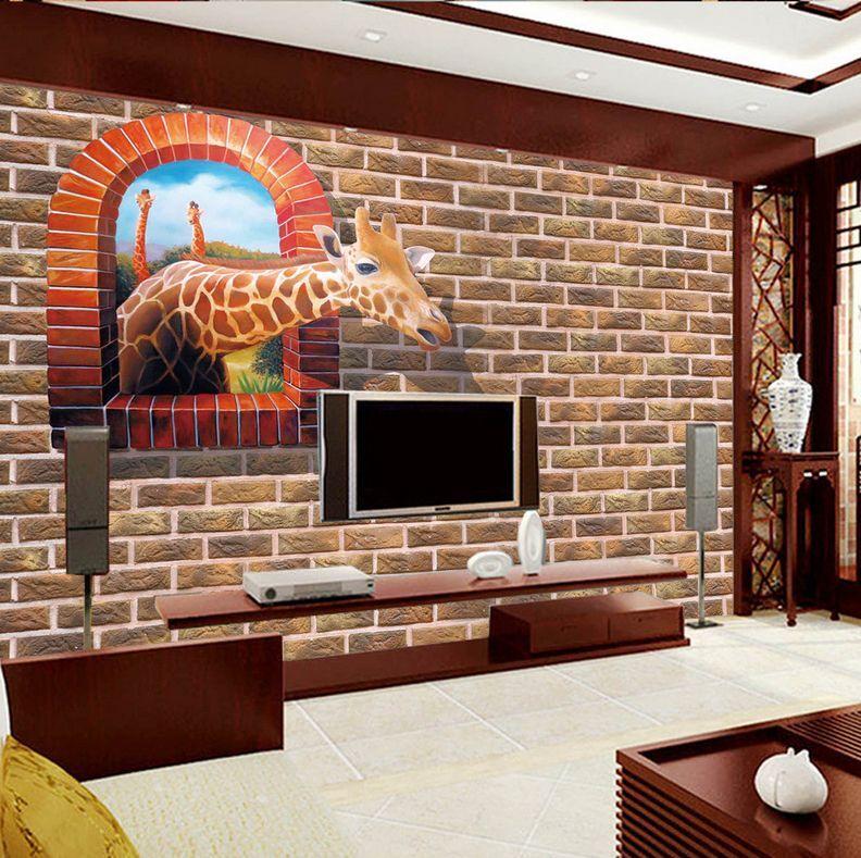 3D Giraffe Through Wand Window 33 Wand Papier Wand Drucken Decal Wand AJ Wand Papier