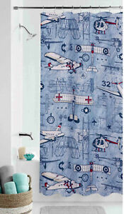 Image Is Loading Aviator Airplane Shower Curtain Kid Child Boy Aviation