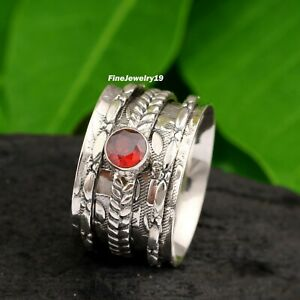 Garnet-Ring-925-Sterling-Silver-Spinner-Ring-Meditation-Statement-Jewelry-A98