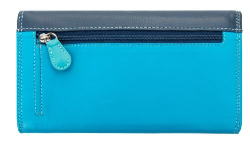 RFID SAFE London Collection Large Blue Multi Colour Matinee Purse Boxed