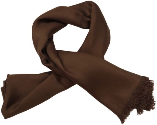 Dark Brown Fringe Solid Colour Design Shawl Scarf Wrap Pashmina CJ Apparel *NEW*