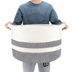 JEKOSEN-Storage-Laundry-Basket-Cotton-Rope-Basket-Woven-Storage-for-Toys-Blanket