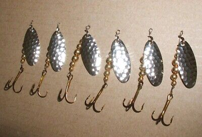 6 SWISS SWING TINY TROUT,CRAPPIE SPINNER; #00 LURE,Fly Rod;Gold MINI SPIN NIP