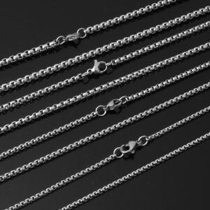 12pcs-Wholesale-Men-Women-Silver-Stainless-Steel-Box-Link-Chain-Necklace-16-30-034