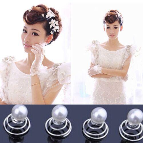 12Pcs Mariée Mariage Bal Cristal Perle Fleur Épingles à Cheveux Bobines tourbillon spirale