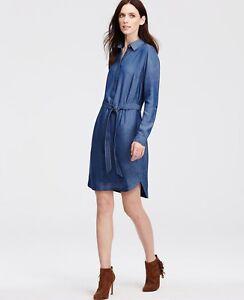 575b62d60b Image is loading NWT-Ann-Taylor-Petite-Chambray-Shirtdress-Size-XXSP