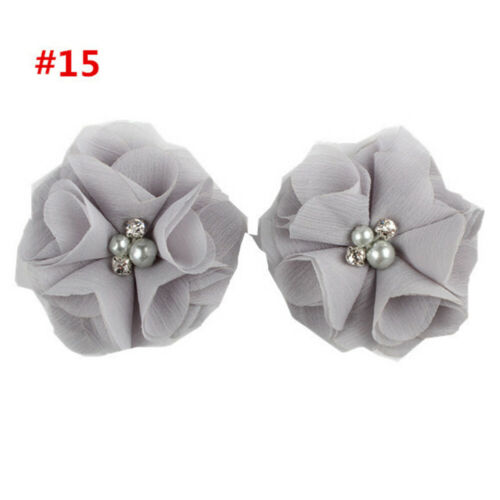 2x Kids Girl Mini Chiffon Flowers with Pearl Fake Rhinestone Hair Clip Barrettes