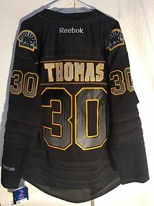 e0fe6726016 Reebok Premier NHL Jersey Boston Bruins Tim Thomas Black Accelerator ...