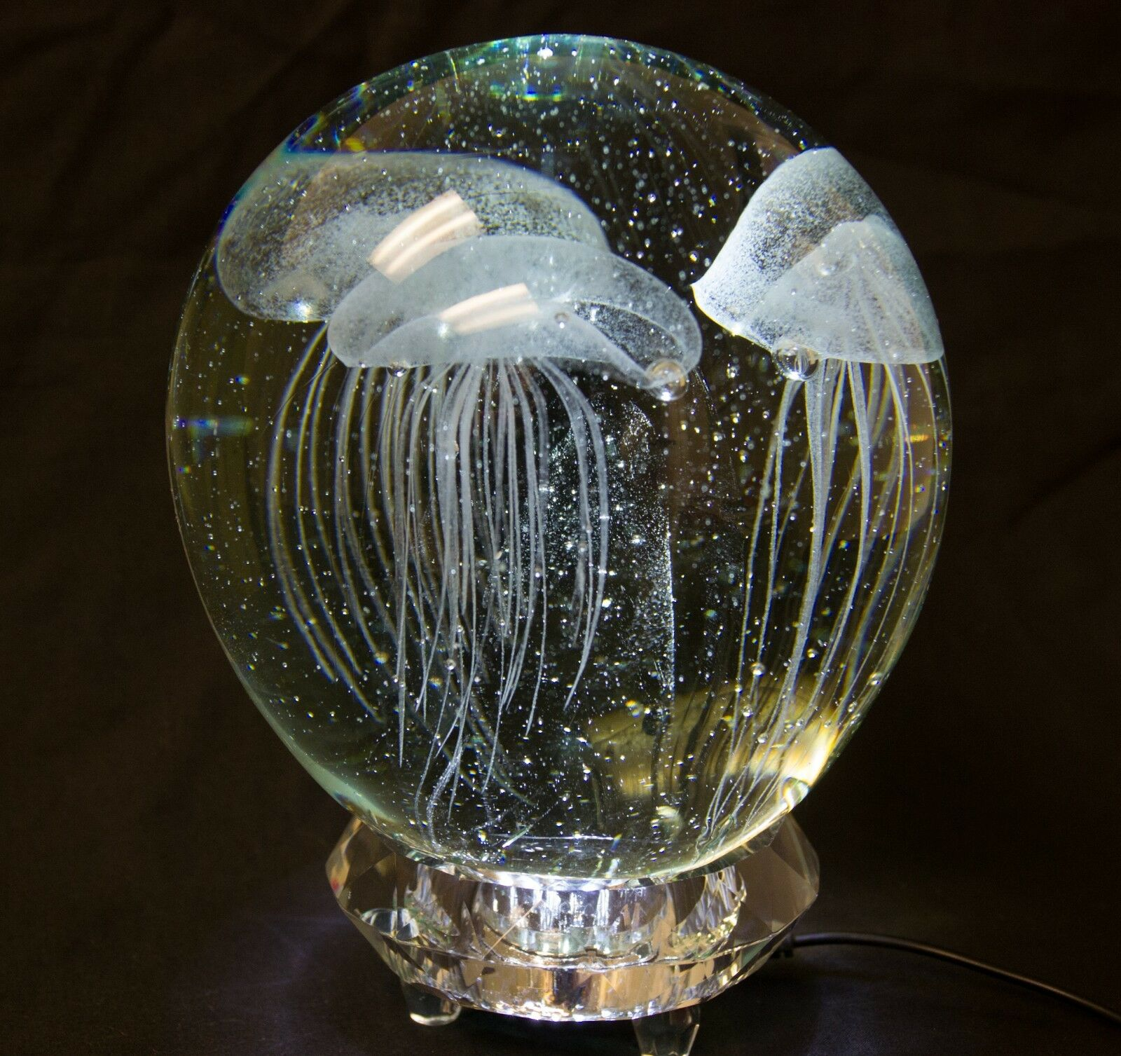 Glass Jellyfish paper weight, glowing in the dark, 5.5  tall, 3 Weiß jellyfish