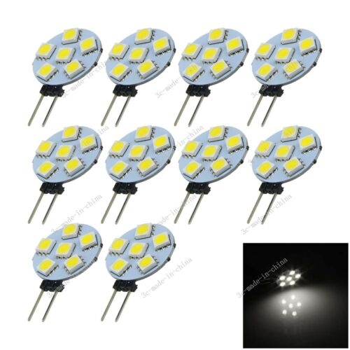 10X White 6 LED 5050 Non-polar G4 Light Bulb Lamp Marine Camper  DC//AC 12V T011