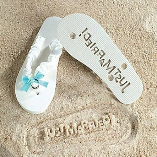 Just Married White Flip Flops Stamp Your Message in the Sand and Beach! 9//10