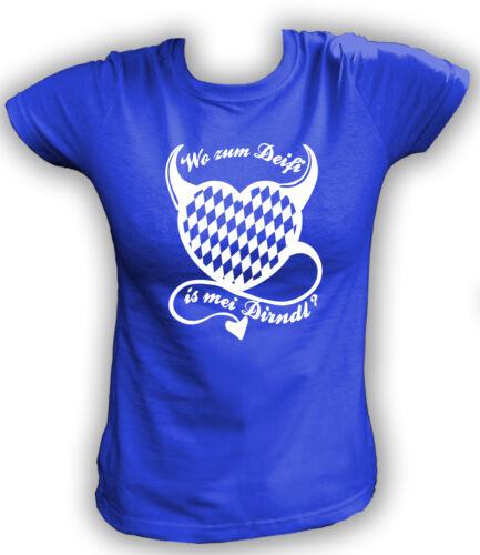 Damen T-Shirt XS-2XL Wo zum Deifi is mei Dirndl Oktoberfest Shirt Wiesn