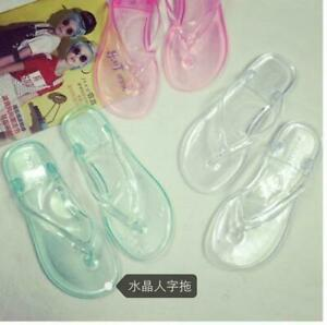 Women-039-s-Clear-Transparent-Flip-Flops-Sandals-Beach-Casual-Slippers-Shoes-Flats