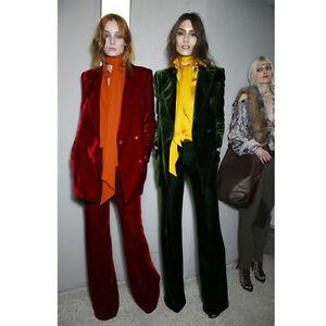 Burgundy Dark Green Womens Business Suits Double Breasted Velvet