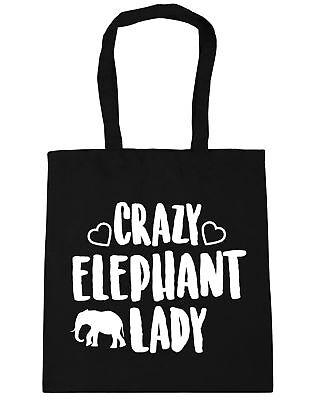 Crazy elephant lady Tote Shopping Gym Beach Bag 42cm x38cm 10 litres