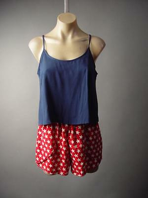 Red White Navy Blue Americana Star Print Twofer Playsuit 195 mv Romper S M L